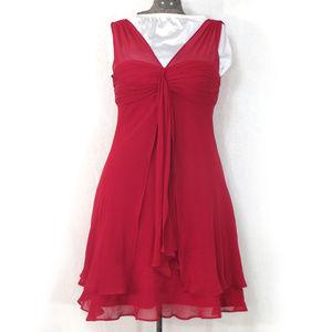 Donna Ricco Red Silk Chiffon Party Dress